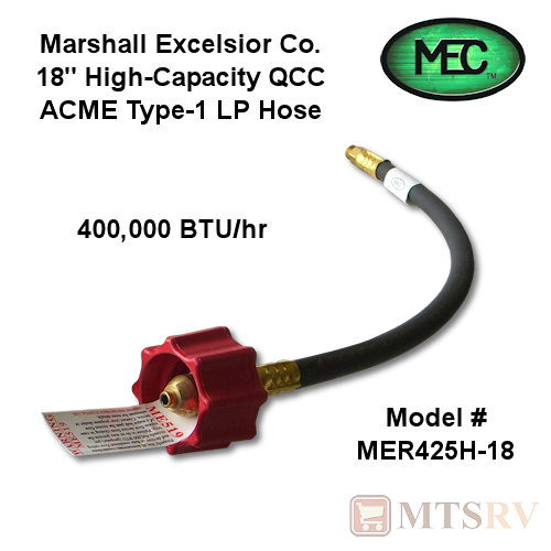 "MEC 18"" Red Hi-Flow LP Hose with ACME QCC Type-1 Fitting 1/4 invert - Single"