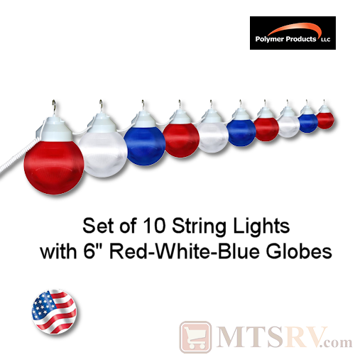 Polymer Products Red/White/Blue Globe Light 10PK