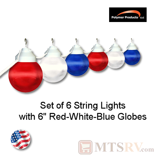 Polymer Products Patriotic Globe Light 6PK