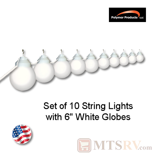 Polymer Products White Globe Light 10PK