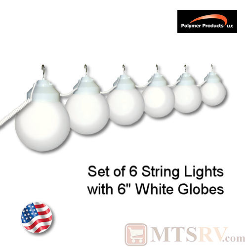 Polymer Products White Globe Light 6PK