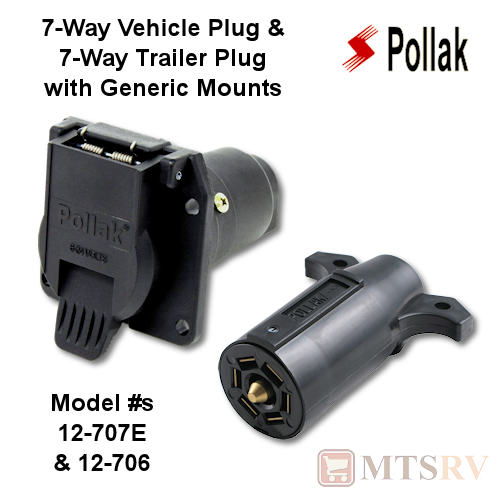 Pollak Plug Set - 7-Way Vehicle Plug & 7-Way Trailer Plug - Generic Mount