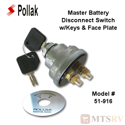 Pollak KEYED Master Battery Disconnect Switch with Face Plate