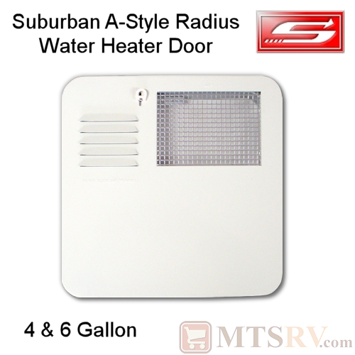 Suburban A-Style Water Heater Door for 4 & 6 Gallon Tanks - Radius Corner Standard Mount - Model 6261APW