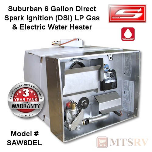Suburban 6 Gallon Water Heater - SAW6DEL - Direct Spark Ignition & Electric Ignition