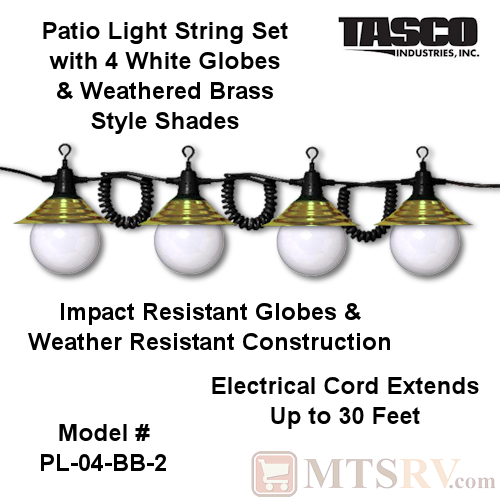 "Tasco Patio String Light Set - 4 White 5"" Globes w/Weathered Brass Style Shades - Model PL-04-BB-2"