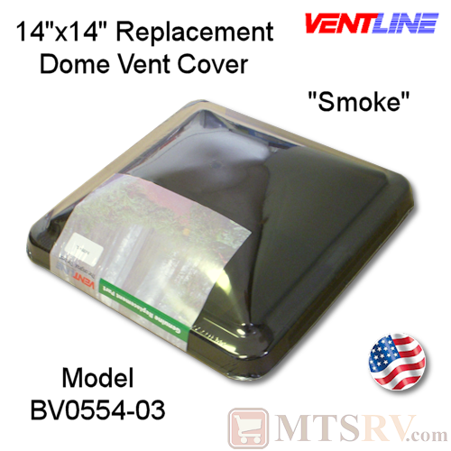"Ventline 14""x14"" Standard Vent Dome Cover - SMOKE - SINGLE - Genuine Replacement Part - USA Made"