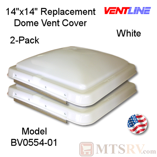 "Ventline 14""x14"" Standard Vent Dome Cover - WHITE - 2-PACK - Genuine Replacement Part - USA Made"