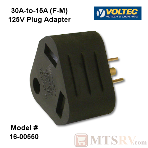 Voltec 15A-to-30A (M/F) 125V Electrical Park RV Plug Adapter - Model 16-00550