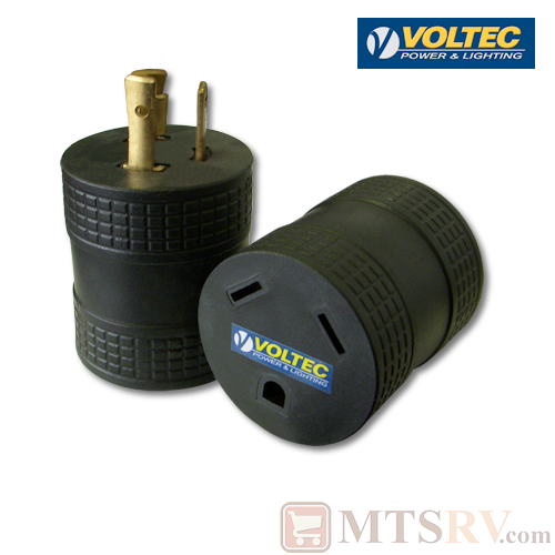 Voltec 30A-Gen-to-30A-Std (M/F)  RV-to-Generator 3-Prong Twist-Lock Adapter Plug - Model 16-00516 - 125V Heavy Duty
