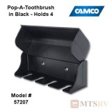Camco RV Pop-A-Toothbrush Hygenic Holder - BLACK - Holds 4 Brushes
