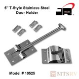 "JR Products 6"" T-Style Stainless Steel Door Holder with Mounting Screws - #10525"