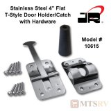 "JR Products 4"" T-Style Stainless Steel Door Holder with Mounting Screws - #10515"