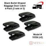 JR Products Baggage Door Catch - Bullet Shaped - Black - 4-PACK