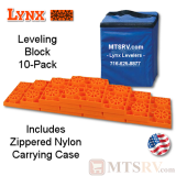 Lynx Levelers Orange RV & Trailer Leveling Blocks - 10 Block Pack w/Nylon Bag - USA Made