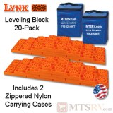 Lynx Levelers Orange RV & Trailer Leveling Blocks - 20 Block Pack w/2 Nylon Bags - USA Made