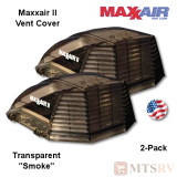 "Maxxair II Large Vent Cover -  Smoke - 2-PACK - Transparent made for covering most 14x14"" Vents"
