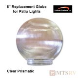 "Polymer Products Acrylic Patio Light Replacement Globe - Clear Prismatic - 6"" Diam. with 1/2"" Base"