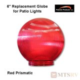 "Polymer Products Acrylic Patio Light Replacement Globe - Red Prismatic - 6"" Diam. with 1/2"" Base"