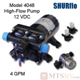 Shurflo Model 4048 12V High-Flow 4-GPM Demand Fresh Water Pump w/Fittings & Strainer