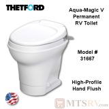 Thetford Aqua-Magic V Permanent RV Toilet w/Hand Lever Flush - High-Profile in White - Model 31667