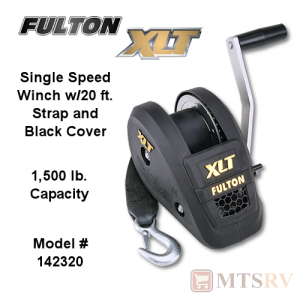 Fulton XLT 1,500 lb. Single Speed Covered Winch w/ Strap & Hook